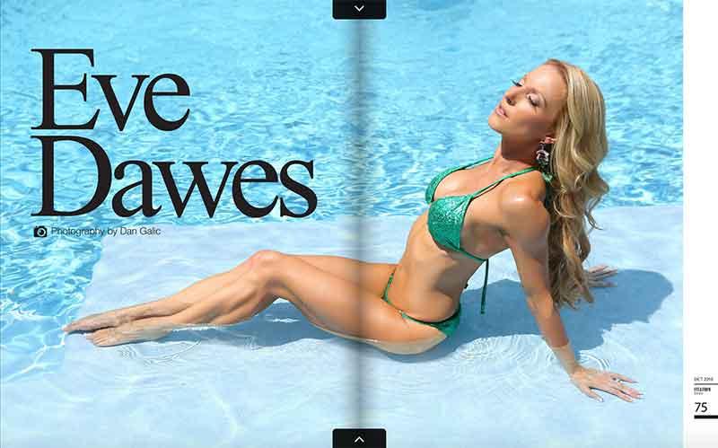Eve Dawes fit and firm magazine green bikini pool