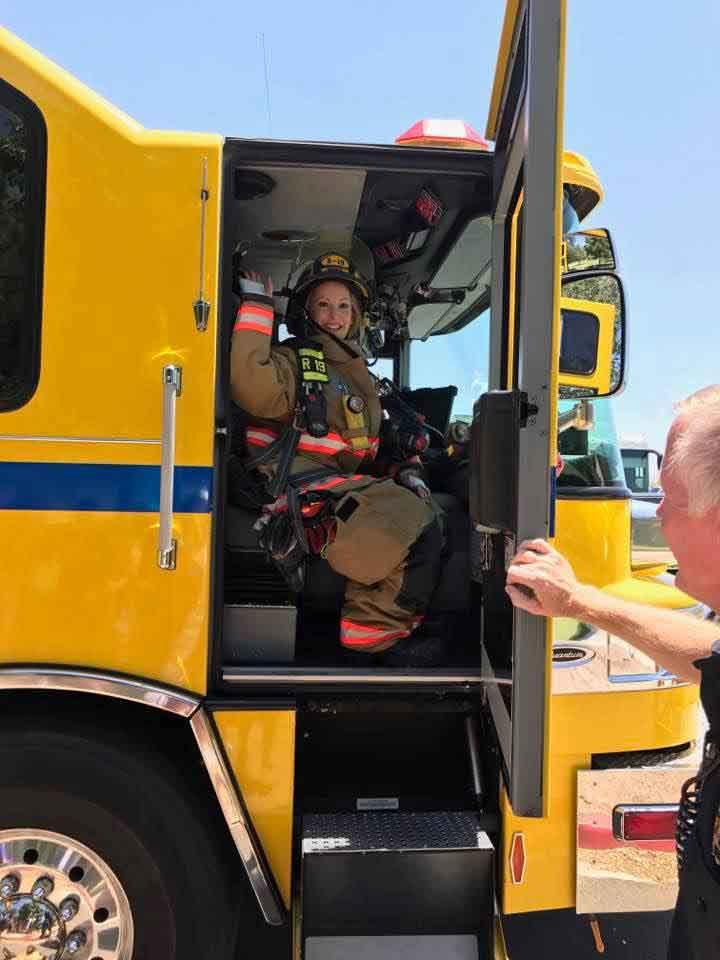 firetruck volunteer firefighter woman