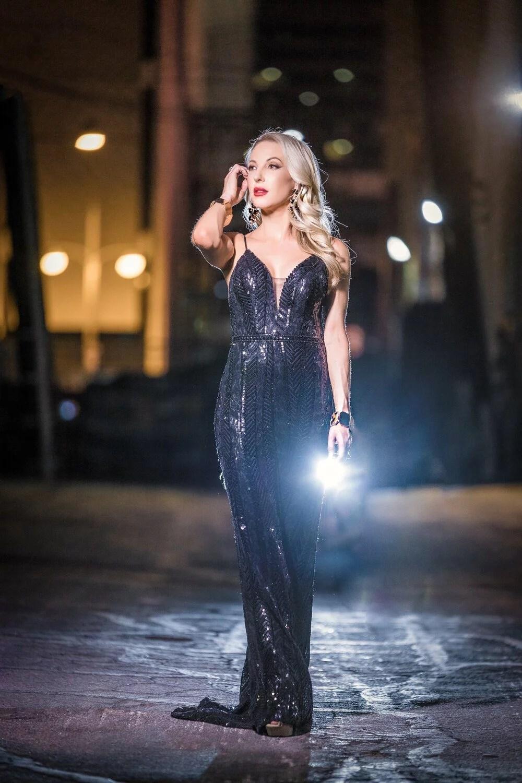 Faviana black sequin gown night photoshoot