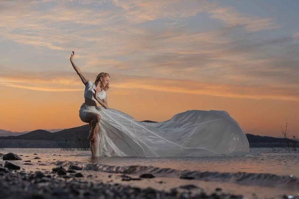Lake Mead sunset model white dress