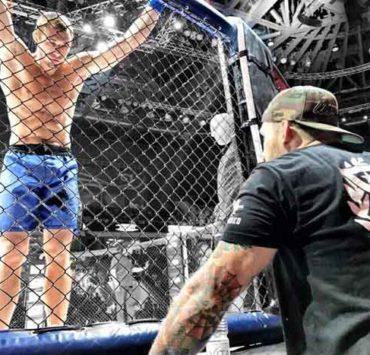 MMA fighter octagon talking coach