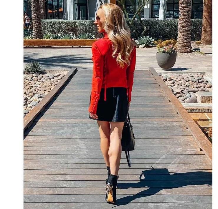 Black suede ankle boots fashion blogger Eve Dawes walking