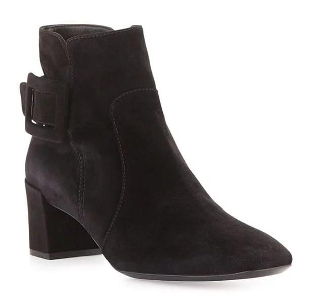 Black suede cowboy ankle boots Block heel buckle detailing