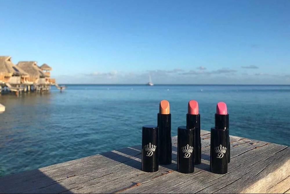 nude, pink, fuschia lipsticks Dawes Cosmetics