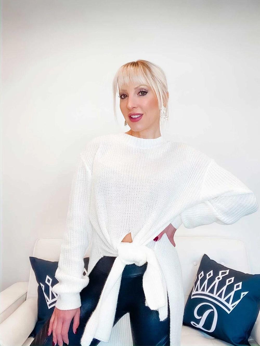 Femme Luxe Finery Long Line Split Jumper worn fashion blogger Eve Dawes