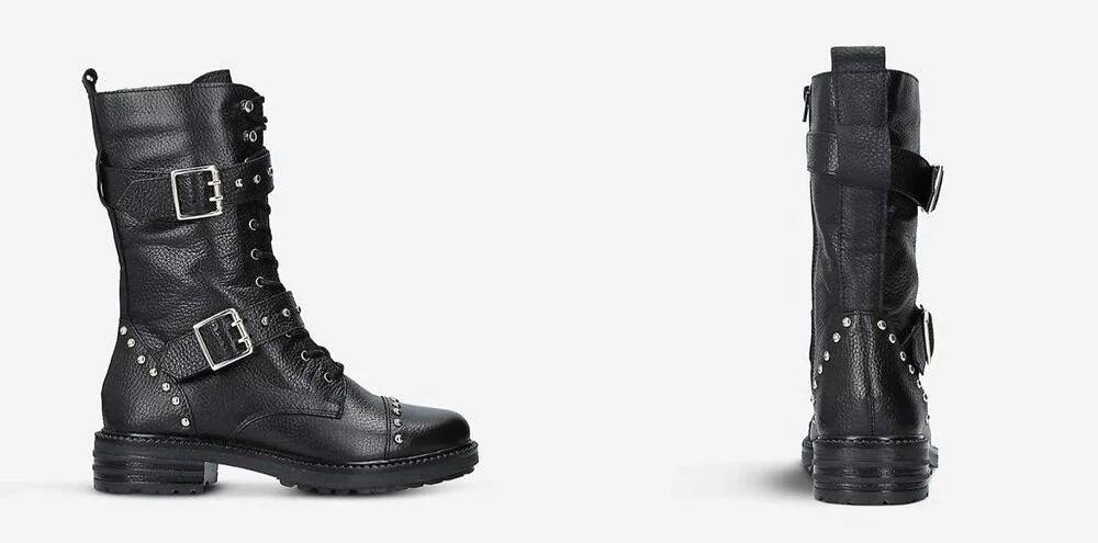 Kurt Geiger Sting boots black studded buckle flat style Selfridges Luxury Collection London