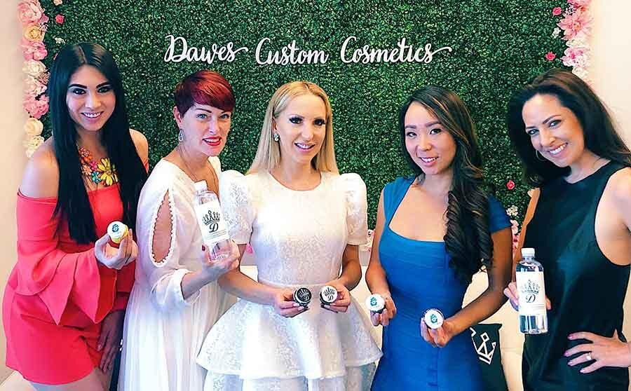 Bachelorette party celebrating Vegas Dawes Custom Cosmetics