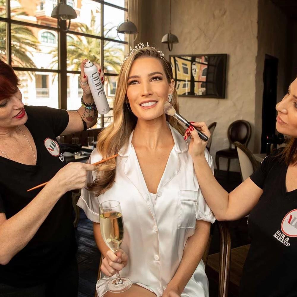 Bride having hair makeup done Dawes Cosmetics vegas lip lab