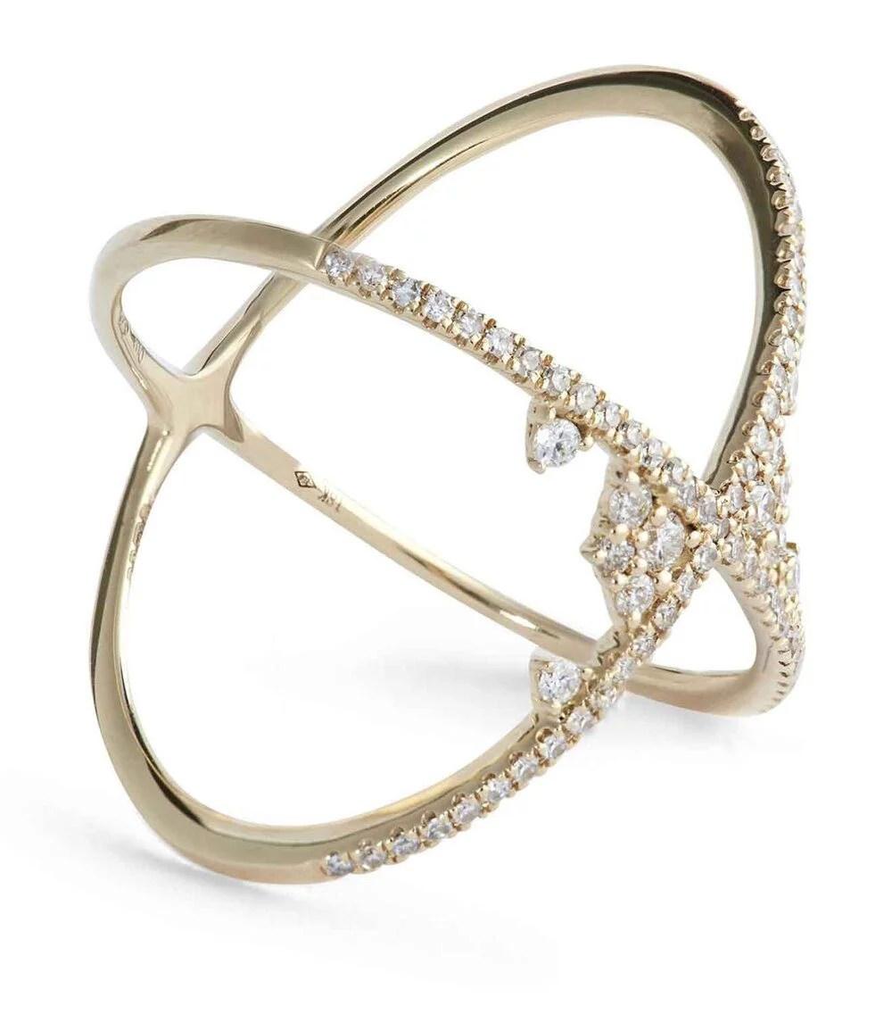 DJULA Yellow Gold and Diamond Fairy Tale Cross Ring
