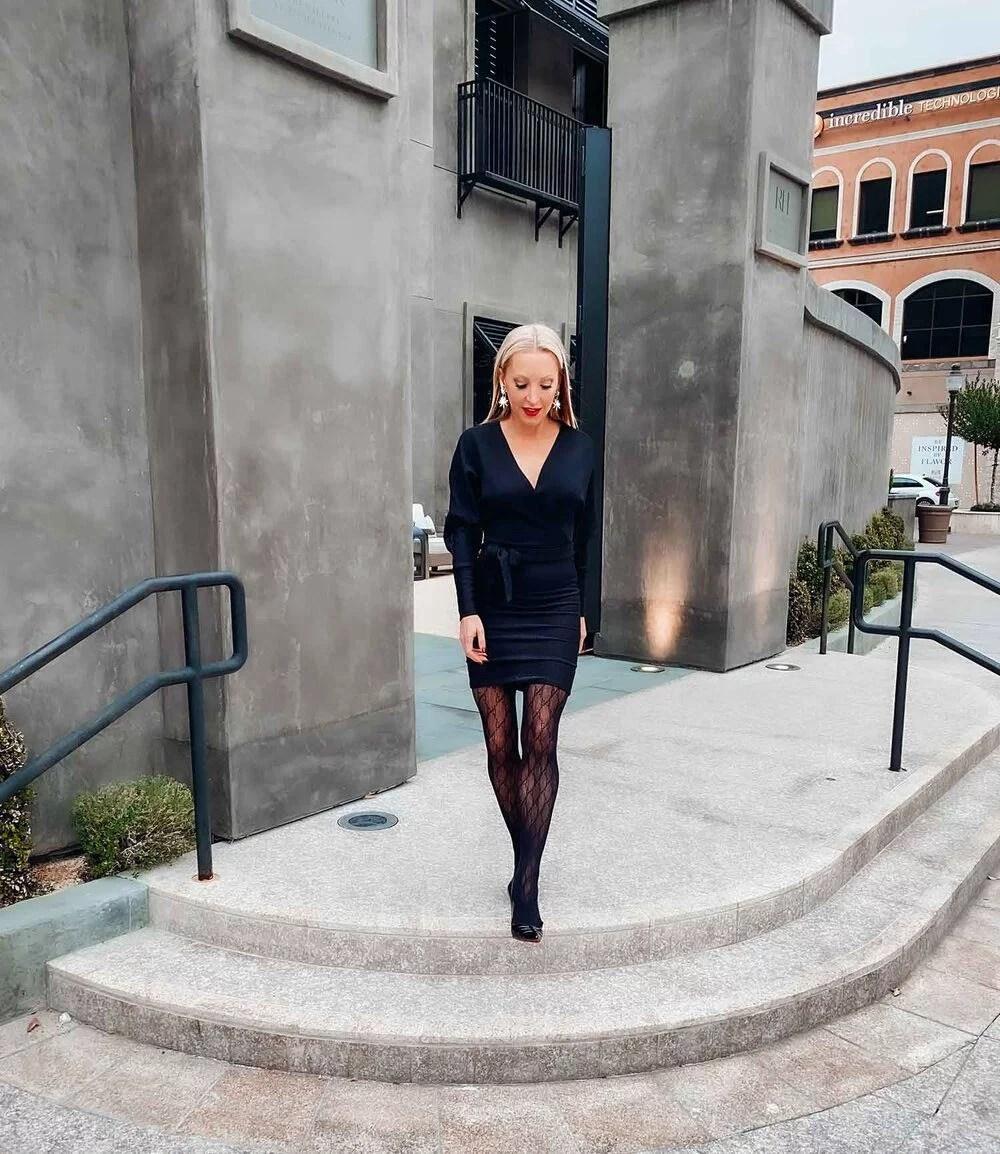 Blonde luxury fashion blogger Eve steps Black dress Gucci tights