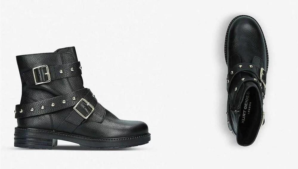 Kurt Geiger Stinger Studded black leather boots luxury fashion 2021