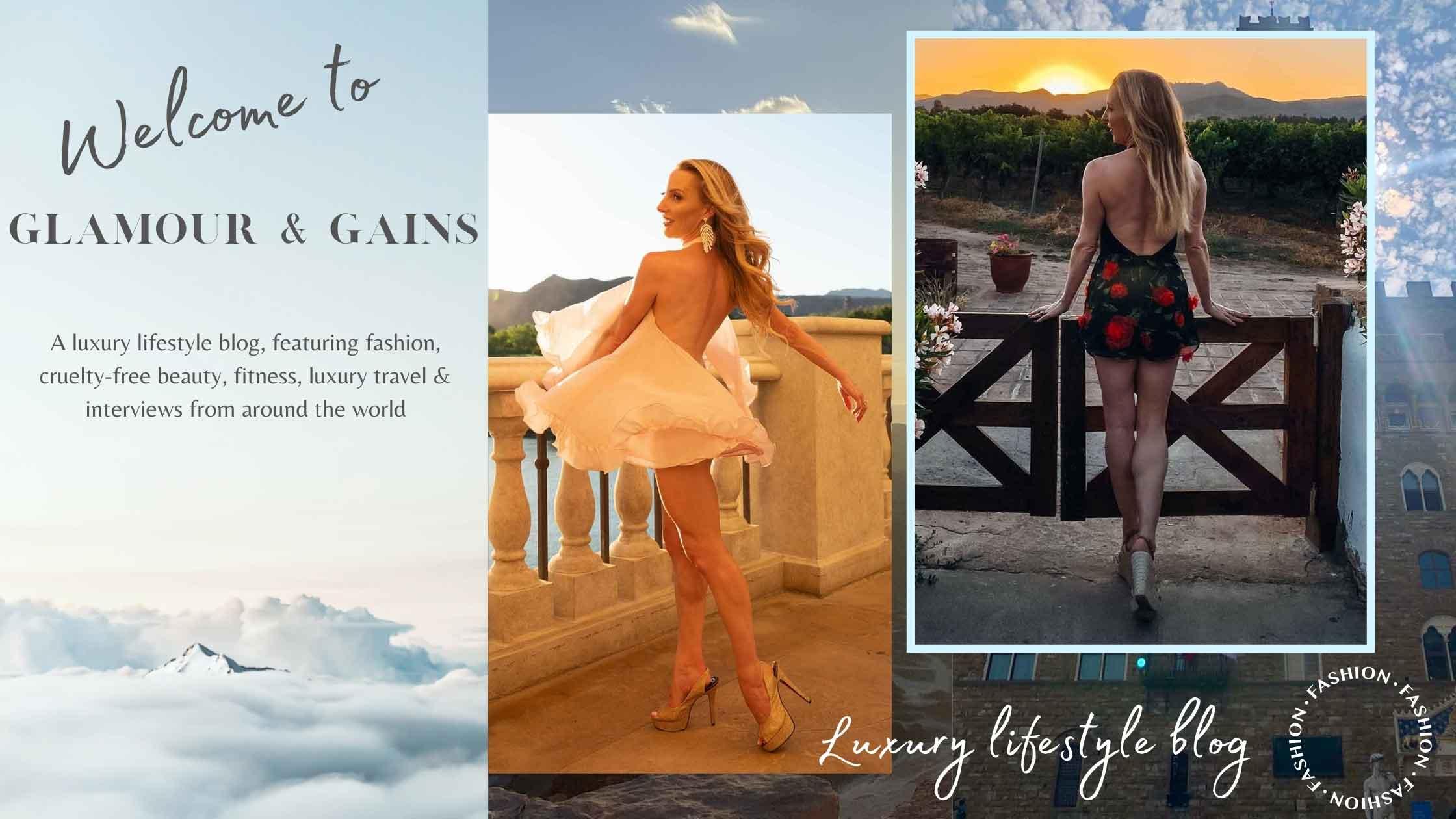 luxury lifestyle blog glamour gains banner