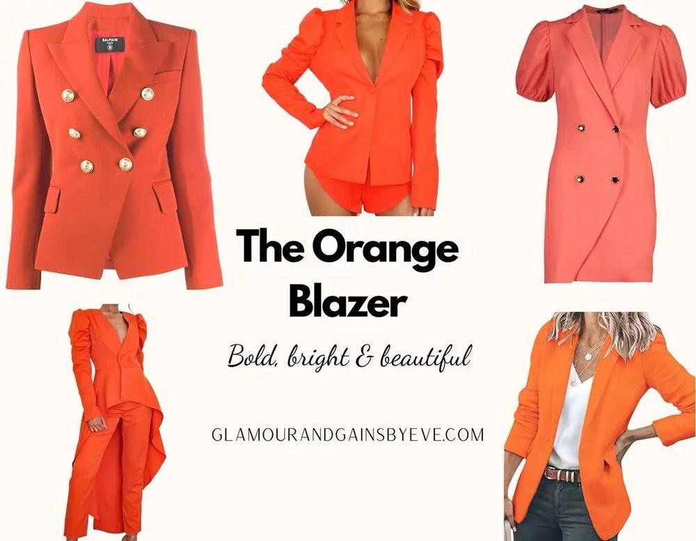 Orange puff sleeve blazers seen on Too Hot to Handle Netflix Cast Chloe Veitch