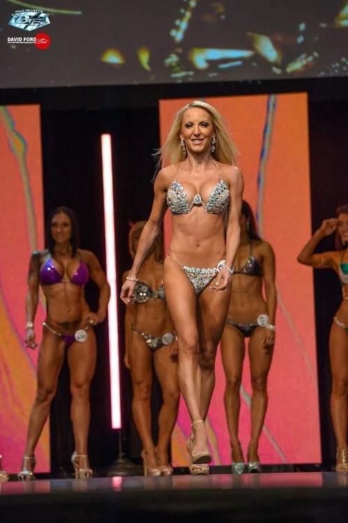 WBFF Pro bikini division on stage glamorous Eve Dawes