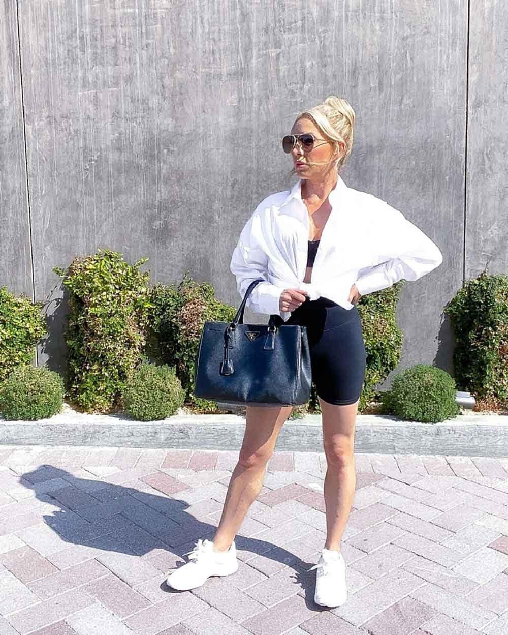 Casual brunch white shirt bike shorts blonde blogger Eve Dawes
