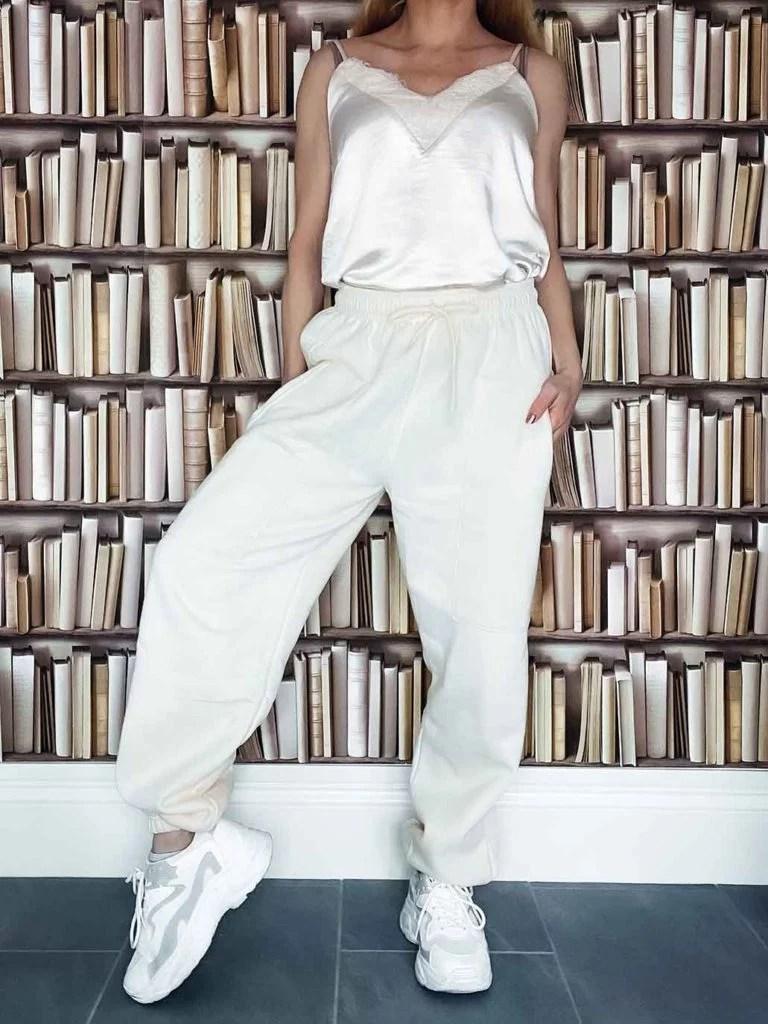 Femme Luxe cream joggers loungewear