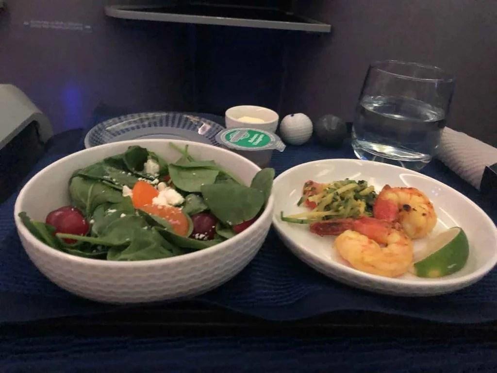 healthy airplane food salad shrimp