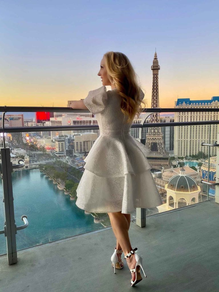 ruffle lace dress 2021 fashion trends Vegas strip view