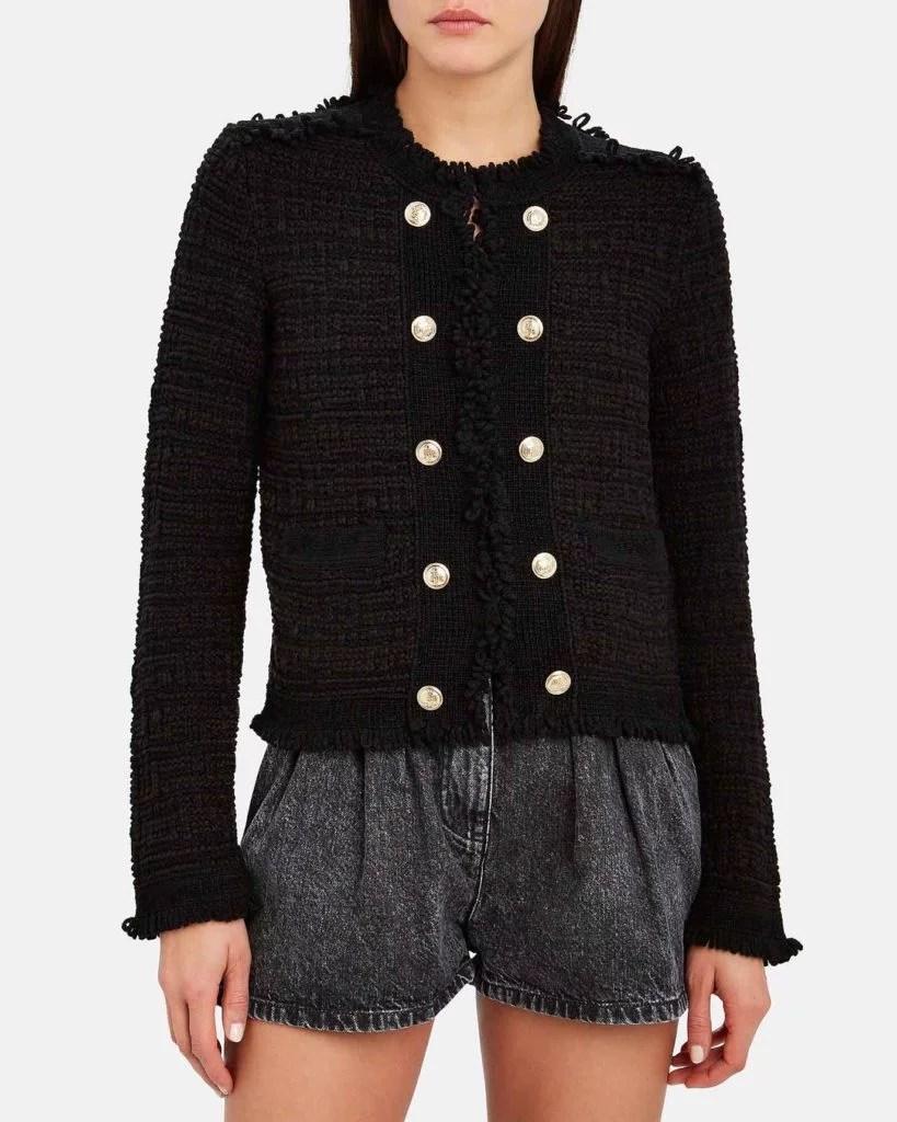 Intermix Lila black cropped knit jacket Intermixonline sale