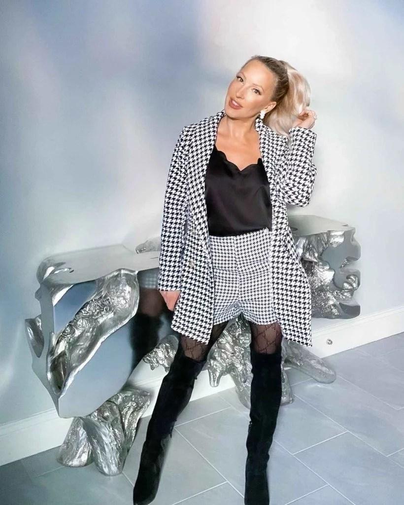 2021 womens fashion houndstooth blazer SHEIN