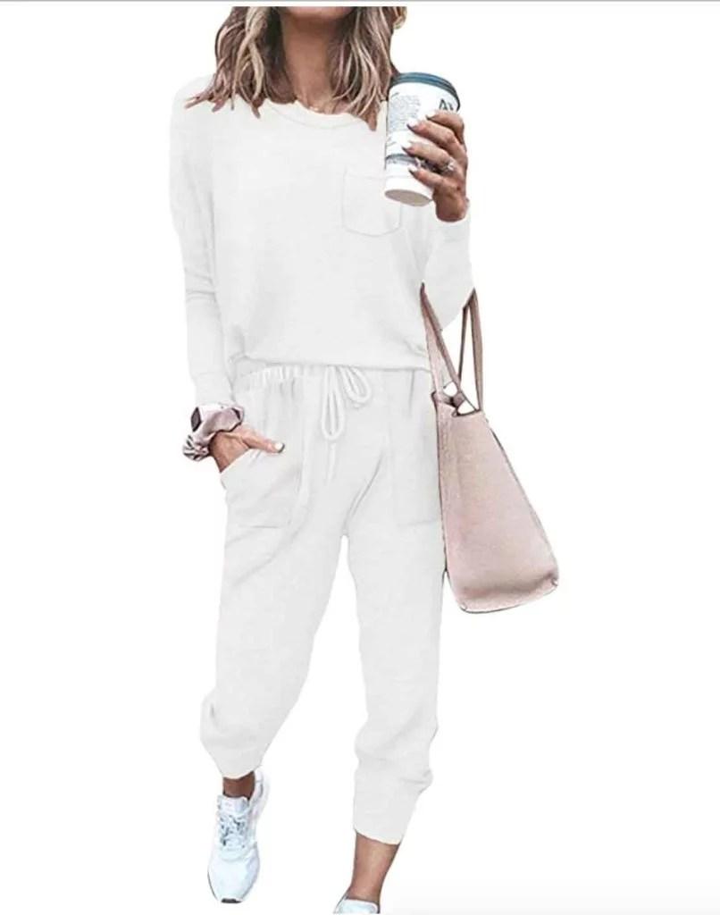 white womens loungewear set amazon valentines gifts