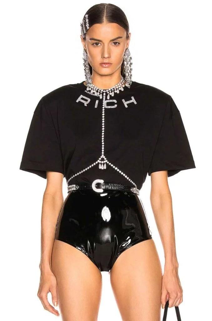 black padded shoulder top fashion 2021 Alessandra Rich