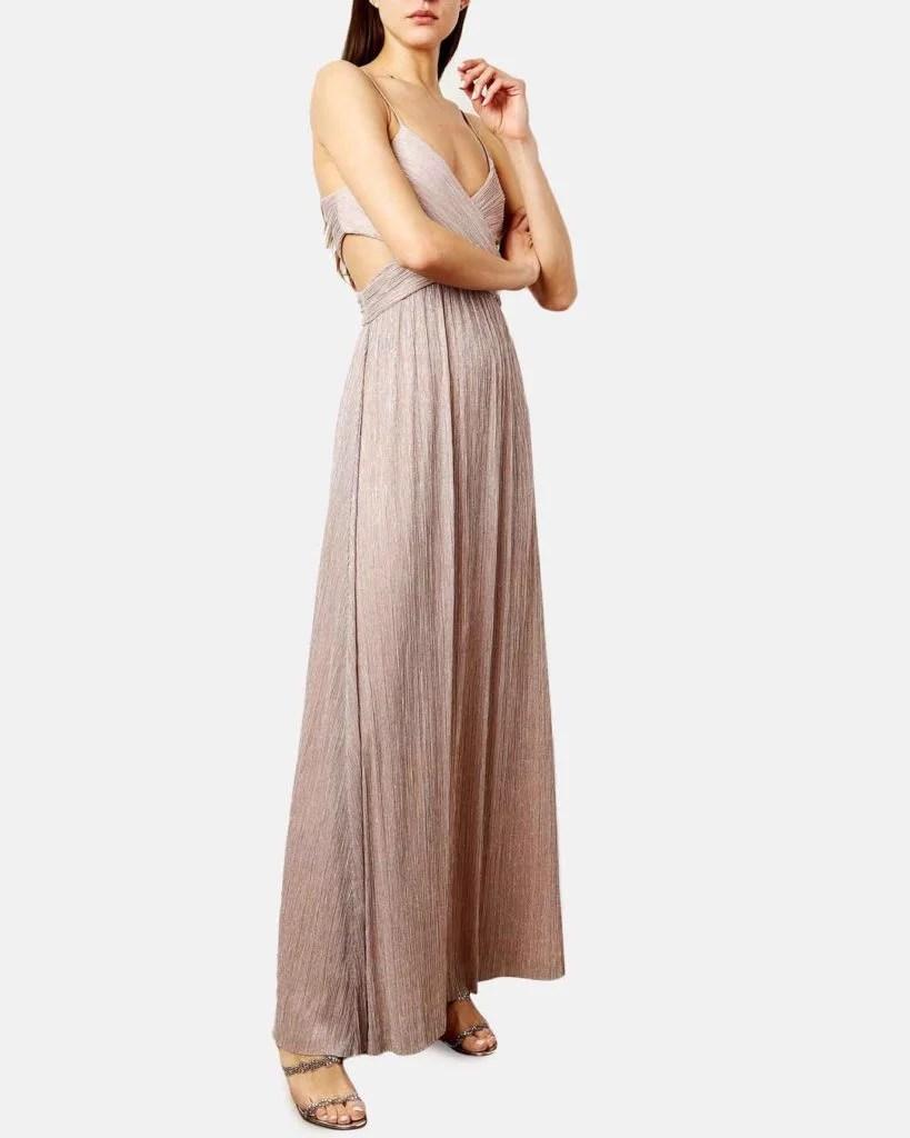 Tina Lurex cut-out gown pink