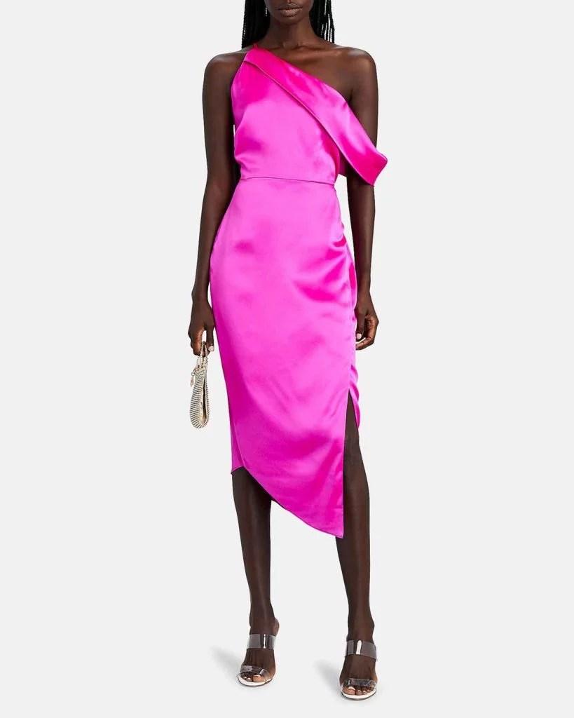 one shoulder pink dress Intermix designer fashion