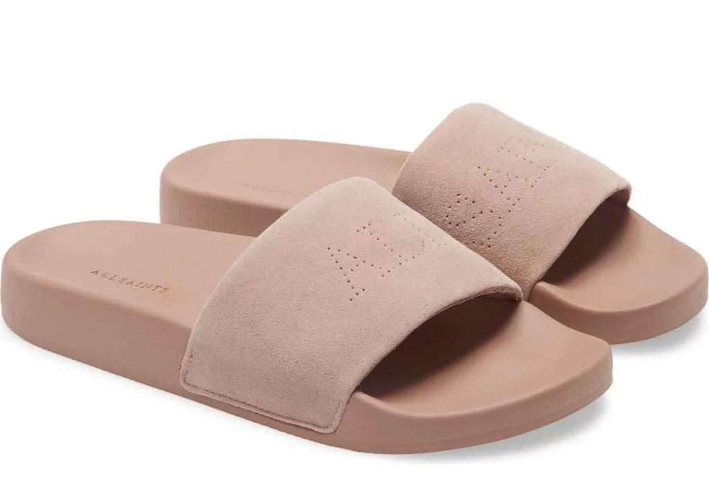 All Saints women's sliders blush pink slides