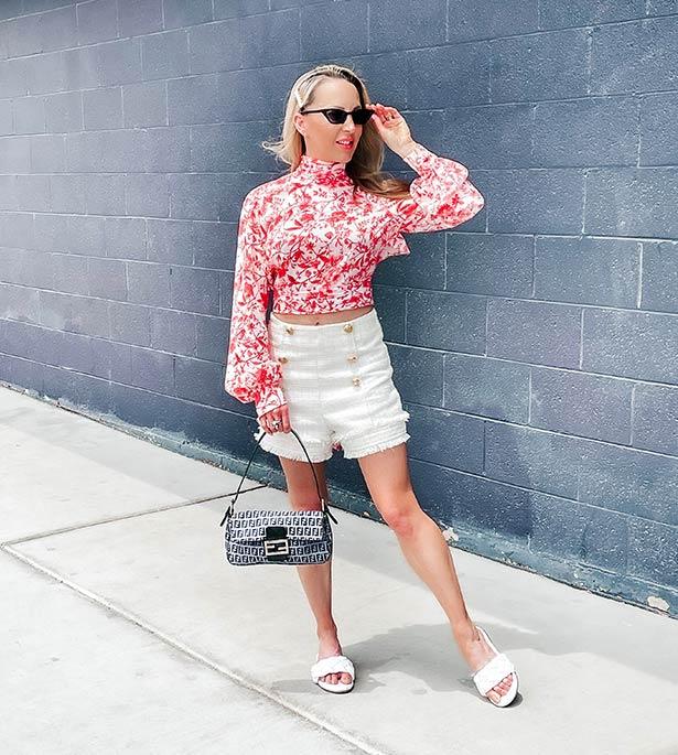 best slides women designer Glamour Gains fashion blogger tweed shorts