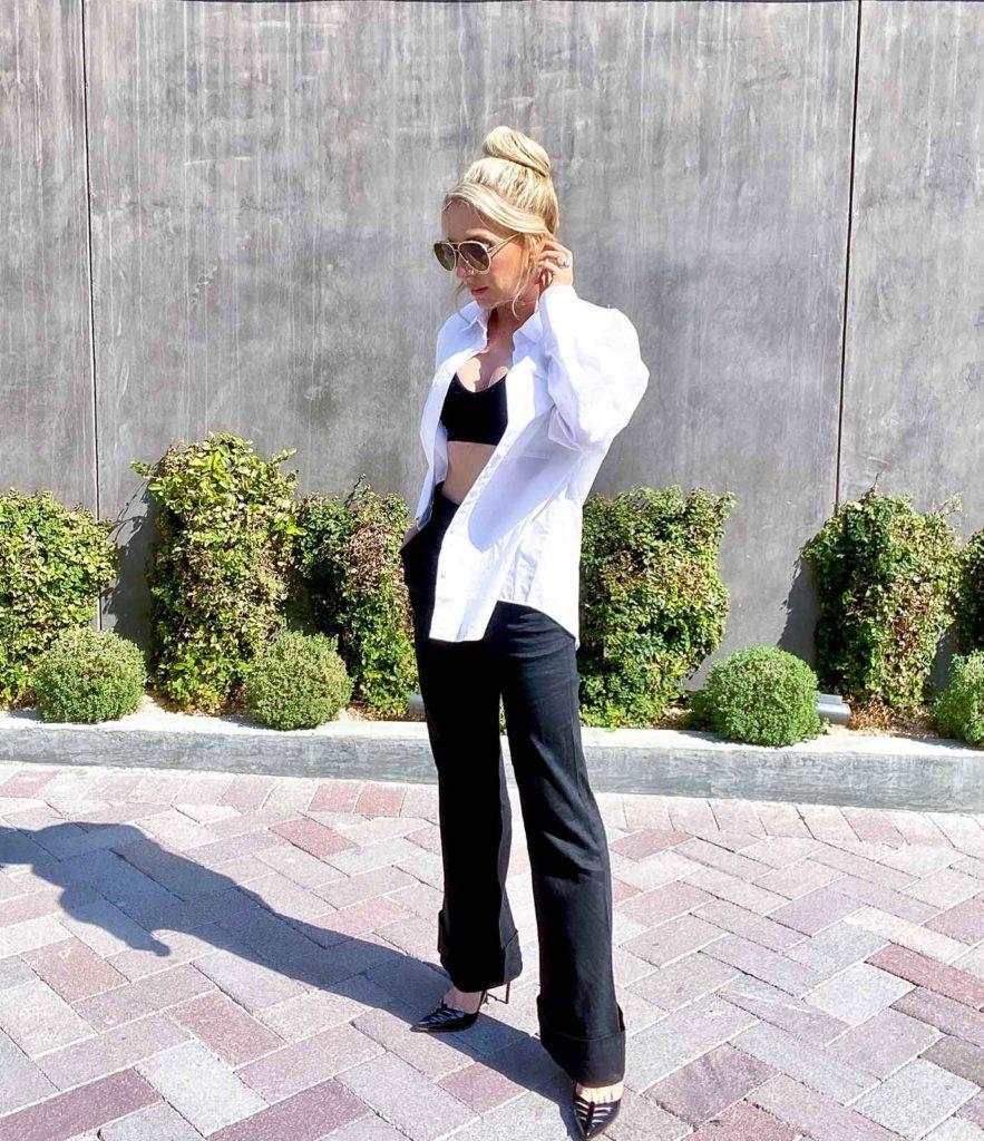 black bralette wide leg pants white shirt fashion trends 2021 Eve Dawes