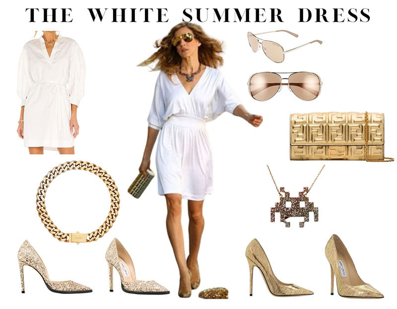 Carrie Bradshaw white dress gold heels Sex And The City outfit copy
