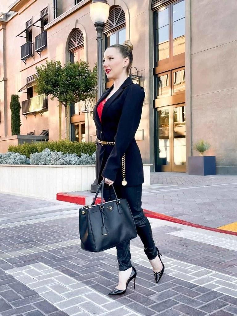 Designer fashion blogger Eve Dawes black suit chanel belt therealreal crosswalk