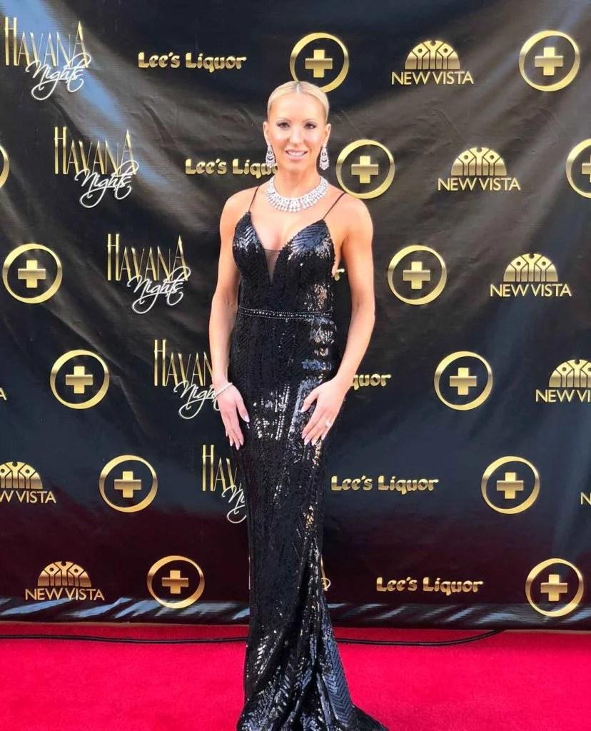 Micro influencer Eve Dawes philanthropist gala organizer black gown