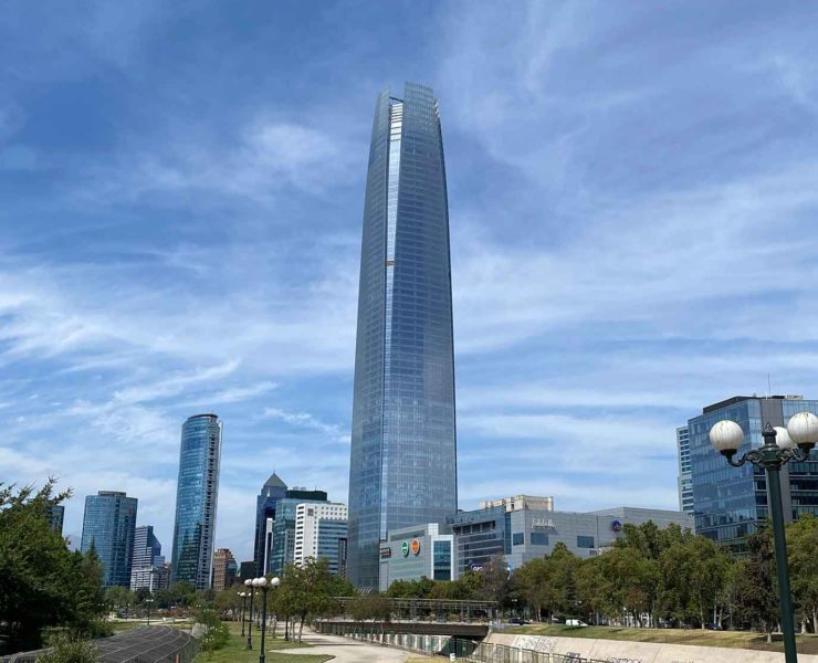 Santiago Chile Sky Constanera tower Gran torre from park