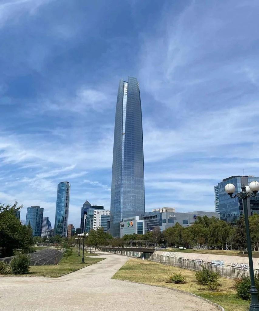 Sky Constanera tower Gran torre Santiago from park
