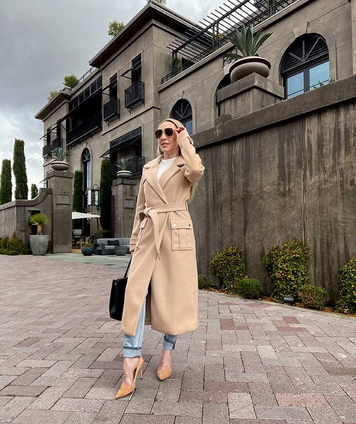 womens longe winter coat beige belted ASOS River Island Glamour Gains fashion blogger Eve