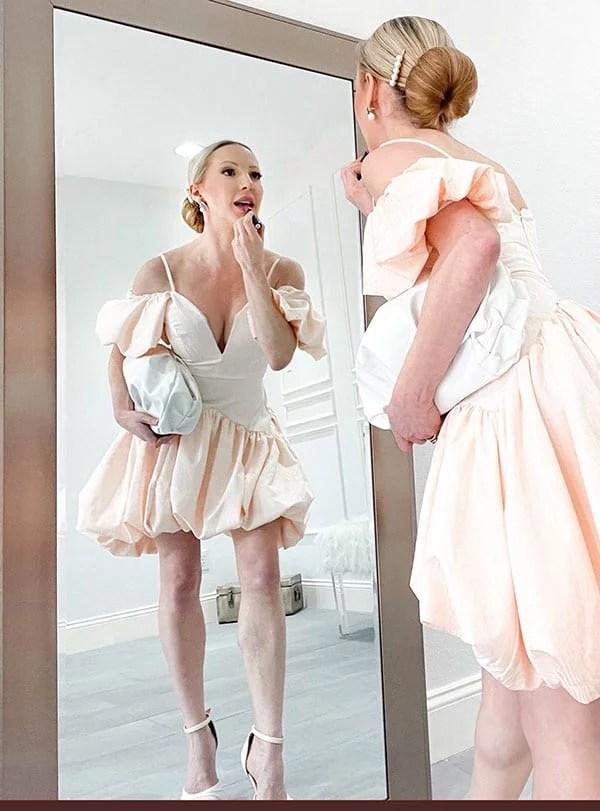 ASOS peach summer dress puffball fashion blogger Glamour Gains