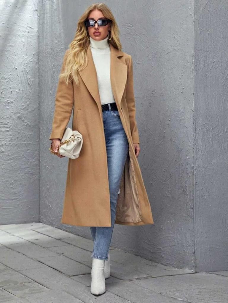 SHEIN long women's winter coat camel fully lined