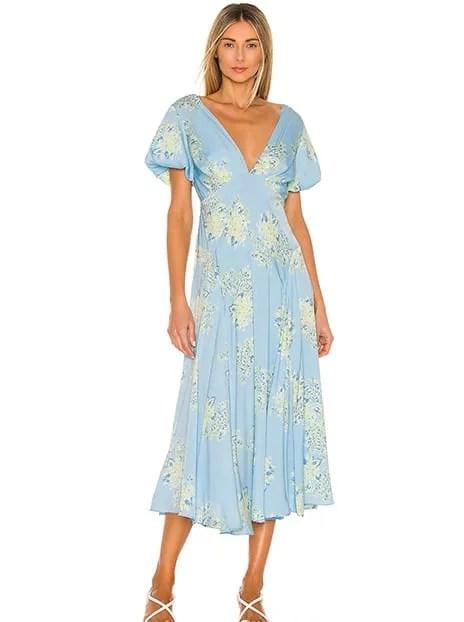 blue yellow floral cap sleeve midi dress