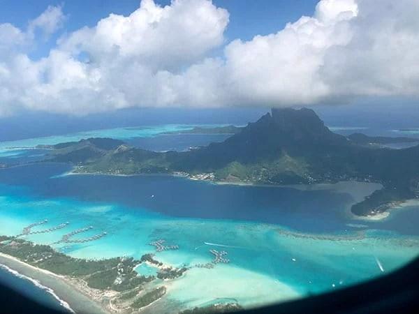 Bora Bora French Polynesia aerial view from plane