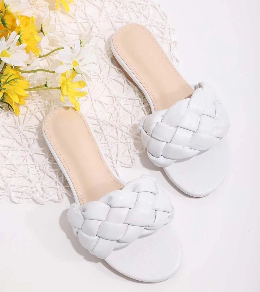womens slide sandals white woven flats summer fashion