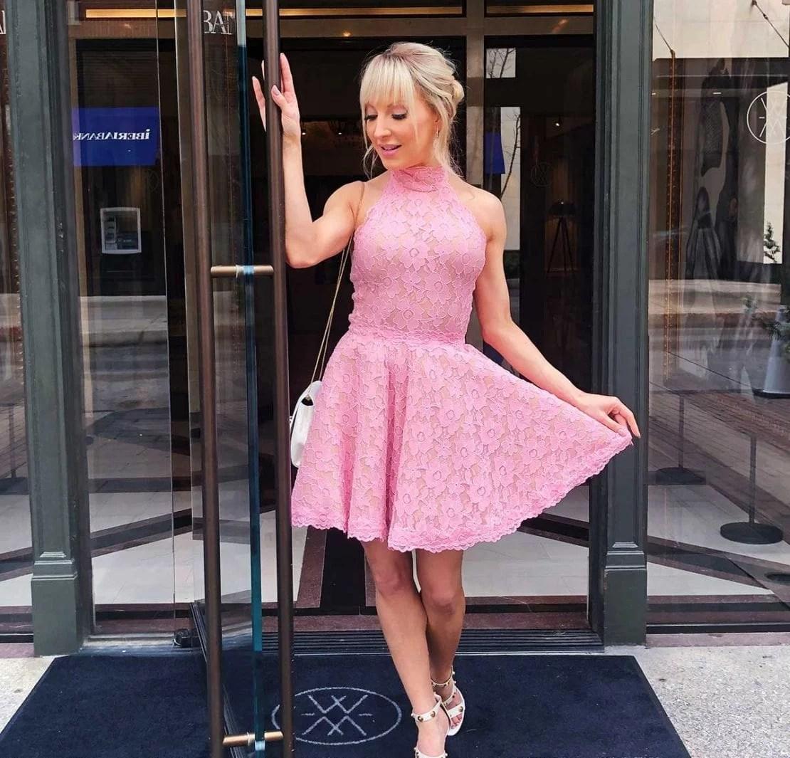 Clip in bangs blonde pink dress Glamour Gains Eve Dawes