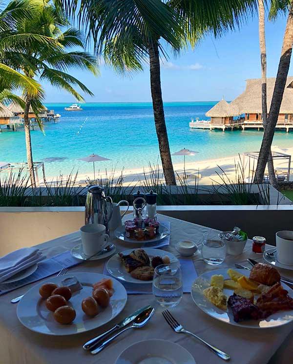 Breakfast view Conrad Bora Bora Nui
