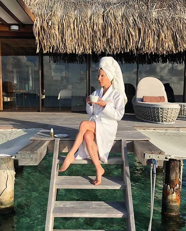 Conrad Bora Bora Nui overwater villa luxury travel blogger Eve Dawes morning tea deck