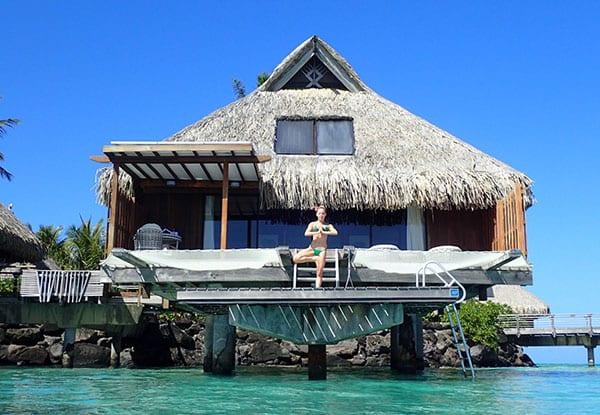 Conrad bora bora nui overwater bungalow luxury travel blogger Glamour Gains yoga deck