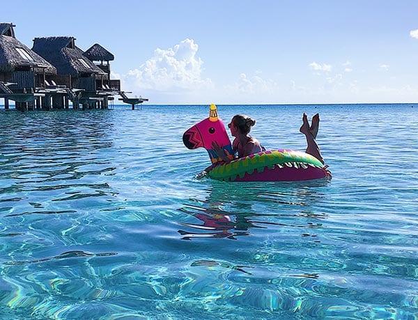 Luxury 5 star hotel Conrad Bora Bora Nui Eve Dawes floaty ocean