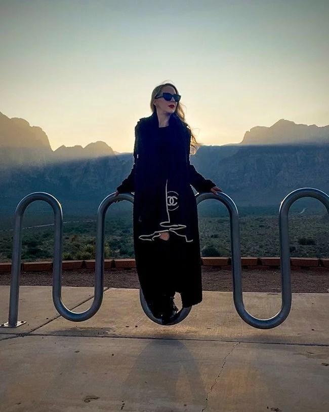 Emporio Armani long black designer coat fashion blogger Vegas