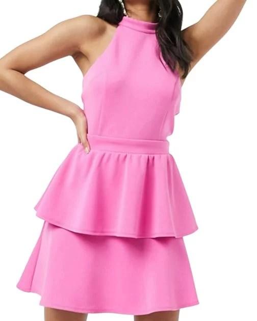 Pink halter neck mini dress ASOS womens fashion