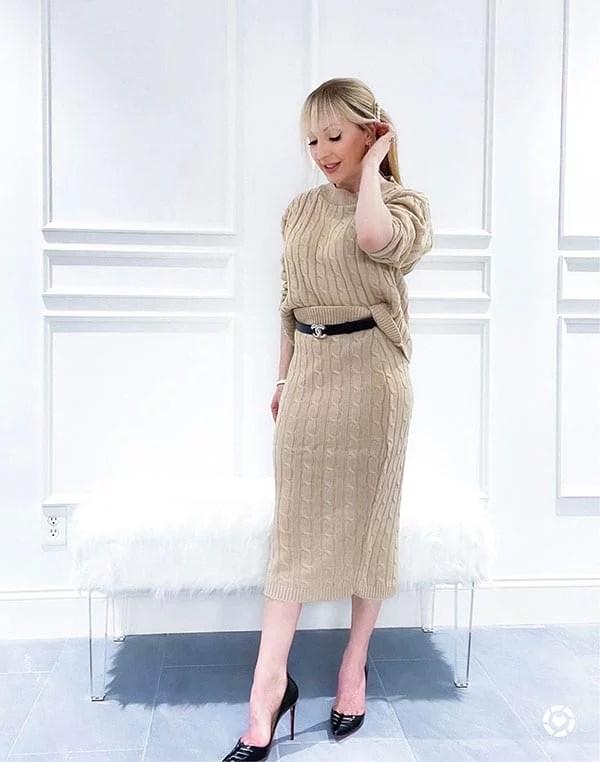 Femme Luxe knit skirt coord set beige womens fashion